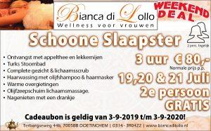 Schoone Slaapster 2e persoon gratis